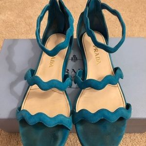 Prada blue suede sandals